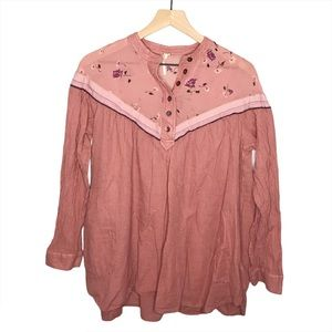 Free People Floral Hearts and Colors Tunic Top S